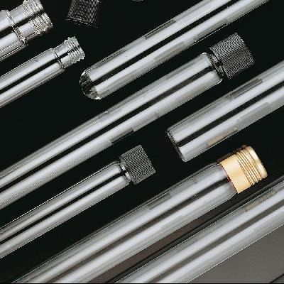 Screw threaded glass tubes