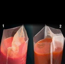 Bolsa estéril con filtro de hoja entera