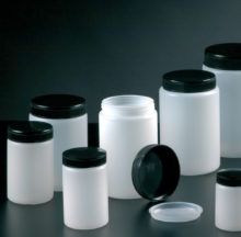 Polyethylene wide mouth jars with lid and insert plug