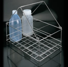 Bottle carrier with folding handlers