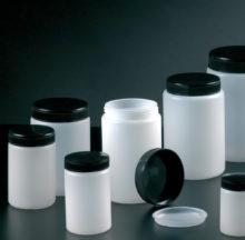 Pots à large ouverture avec bouchon et obturateur, en polyéthylène