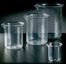 Vasos de precipitado. Graduados en color azul