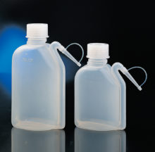 Integral wash bottles